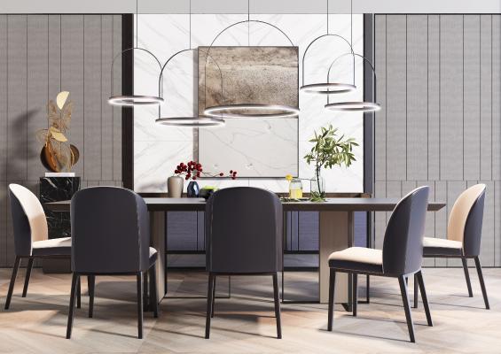 現代奢華餐桌椅組合3D模型【ID:742242146】