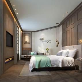 现代北欧酒店客房3D模型【ID:747299379】