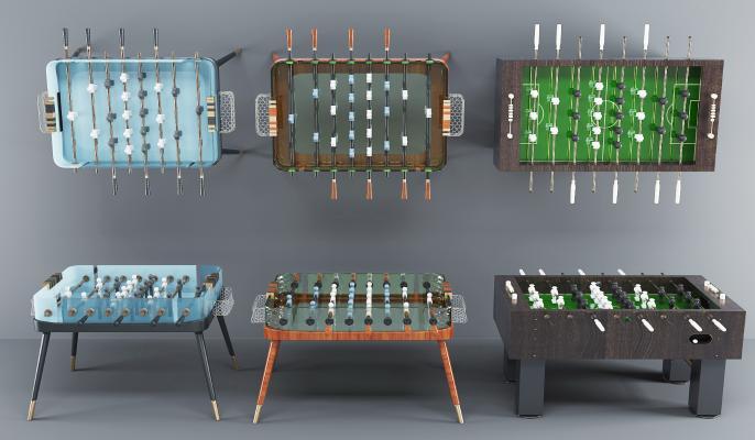 現代桌游設備桌游桌組合3D模型【ID:331617833】