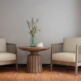 新中式休闲椅3D模型【ID:750355080】
