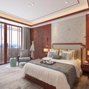 新中式酒店标准间卧室3D模型【ID:735780300】