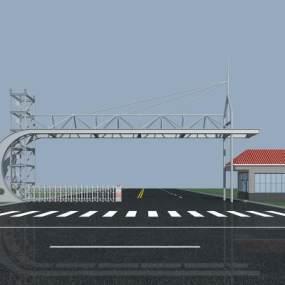 现代工厂大门钢结构大门3D模型【ID:131461924】