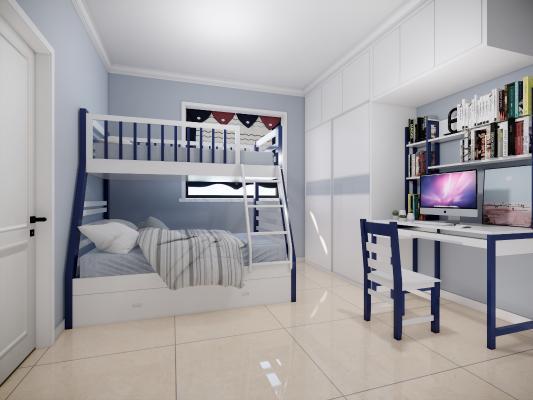 現代兒童房臥室SU模型【ID:247898554】