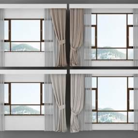 现代窗3D模型【ID:232972654】