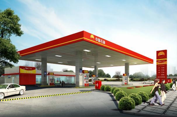 现代加油站3D模型【ID:346425632】