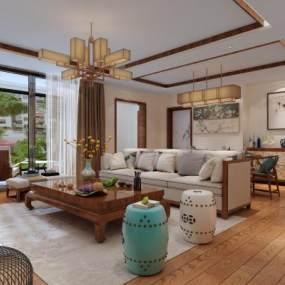 新中式客厅3D模型【ID:535918089】