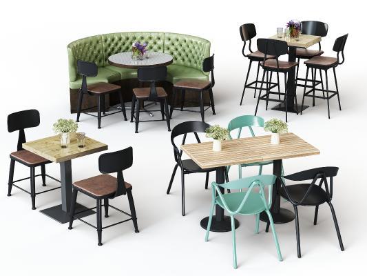 现代休闲桌椅卡座组合