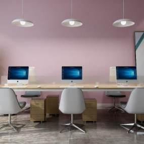 现代办公桌椅3D模型【ID:943508148】