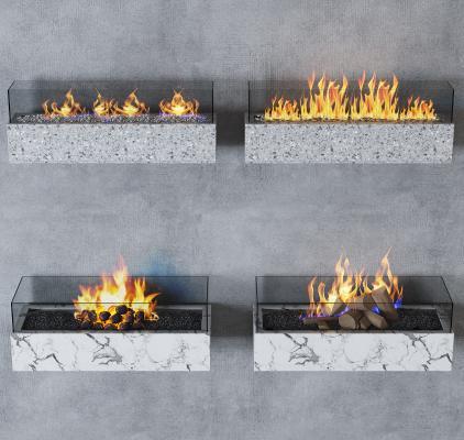 现代壁炉装饰组合3D模型【ID:353091640】