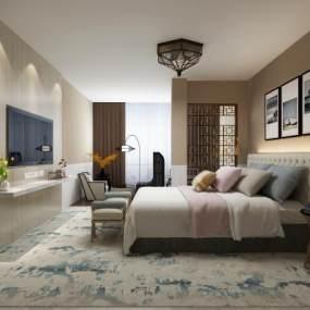 现代酒店客房3D模型【ID:733630390】
