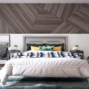 现代卧室双人床3D模型【ID:530431283】