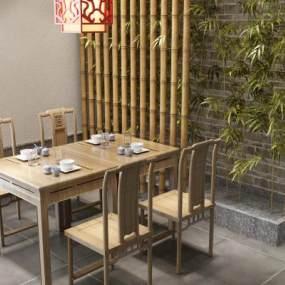 中式餐桌椅3D模型【ID:849370869】
