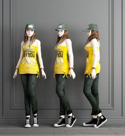 现代美女模特3D模型【ID:341740042】