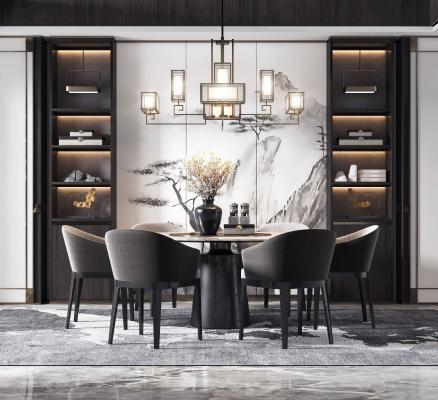 新中式餐桌椅组合3D模型【ID:845938899】