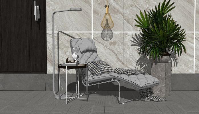 现代风格躺椅SU模型【ID:952927611】