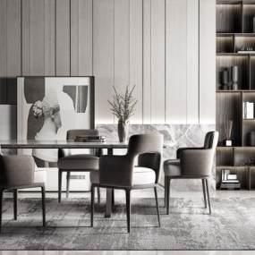 现代高级灰餐桌椅组合3D模型【ID:745655186】