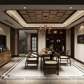 中新式茶室空间3D模型【ID:636244117】