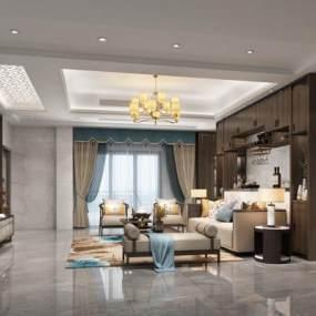 新中式客厅3D模型【ID:553443000】