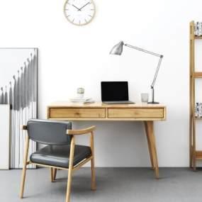 北歐書桌椅小景組合3D模型【ID:952979081】