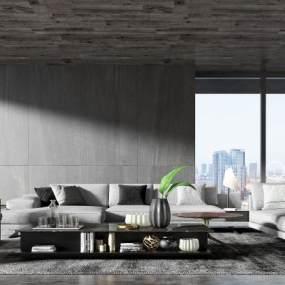 现代客厅3D模型【ID:549378056】