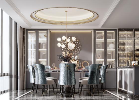 新中式餐厅 餐椅 餐桌