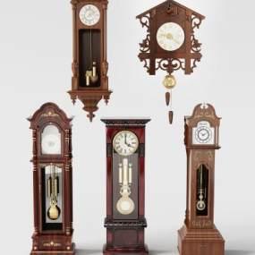 美式座钟挂钟组合3D模型【ID:332104380】