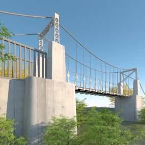 现代悬索桥3D模型【ID:150824472】