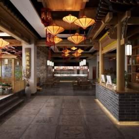 中式餐廳大廳3D模型【ID:148734265】
