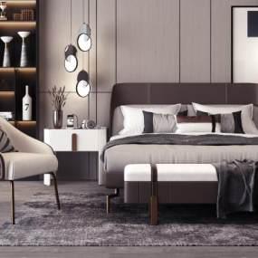 現代雙人床床頭柜組合3D模型【ID:642941171】