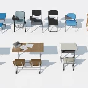 现代学校大学课桌桌椅3D模型【ID:943358016】