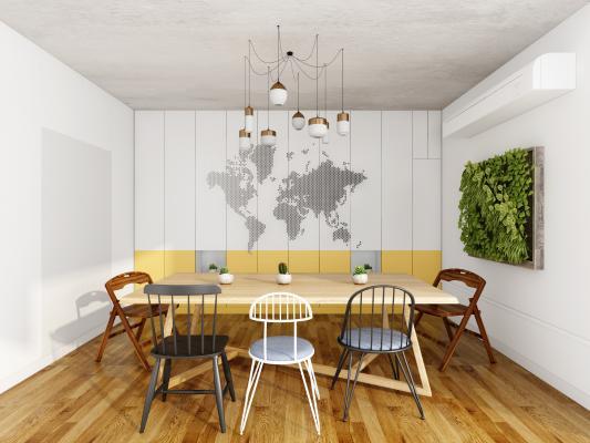 北歐餐桌椅3D模型【ID:747694166】