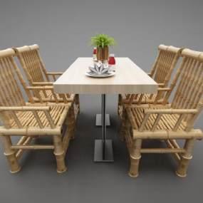 現代風格餐桌3D模型【ID:846940835】