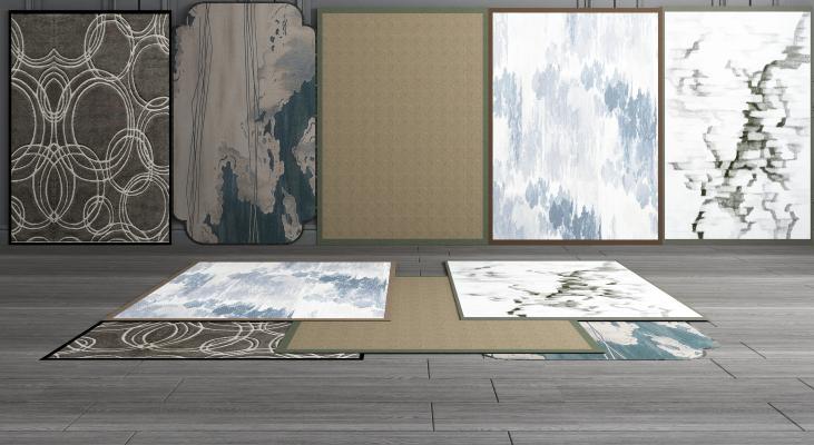 新中式地毯组合3D模型【ID:341577236】