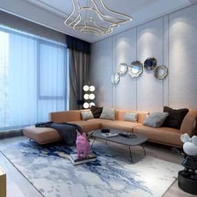现代轻奢客厅 3D模型【ID:542336053】