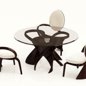 新中式实木餐桌椅组合3D模型【ID:836058869】