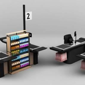 现代超市卖场收银台组合3D模型【ID:430939547】