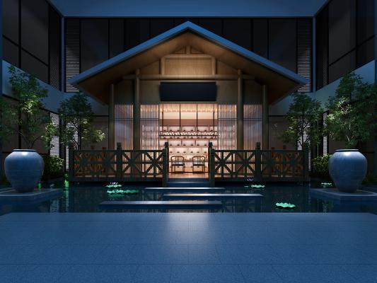 新中式庭院3D模型【ID:143795704】