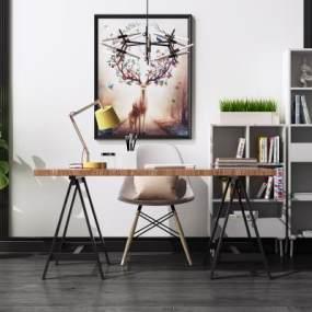 現代書桌椅組合3D模型【ID:950006055】
