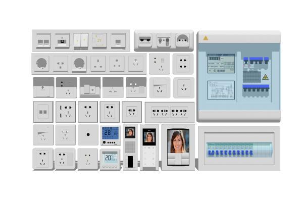 现代构建五金开关插座可视电话组合SU模型【ID:248164594】