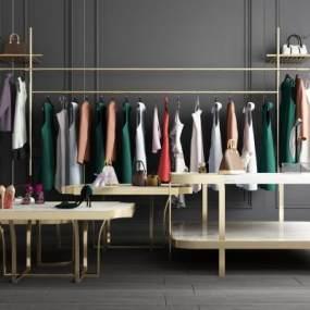 现代服装店衣服架鞋架展示架组合 3D模型【ID:137157026】