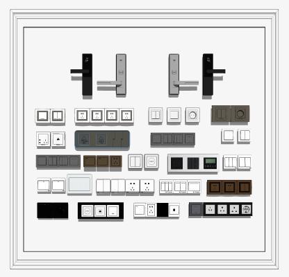 现代开关插座指纹锁组合SU模型【ID:253363545】