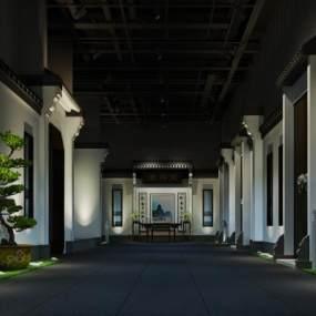 新中式酒店过道 3D模型【ID:734808446】