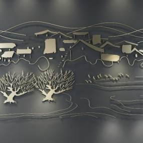 新中式墙饰3D模型【ID:233125757】