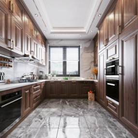 新中式風格廚房3D模型【ID:547164385】