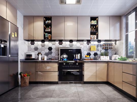 现代风格厨房3D模型【ID:142164752】