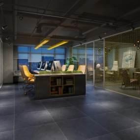 工业风办公桌椅3D模型【ID:936073068】