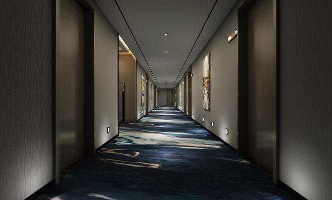 現代酒店走廊3D模型【ID:742078461】