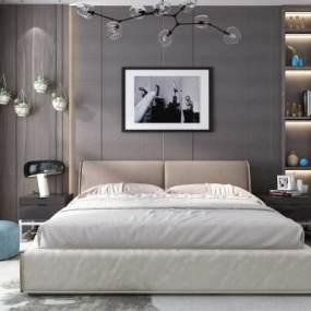 现代双人床吊灯装饰柜挂画组合3D模型【ID:835638788】