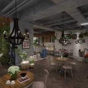 工业风咖啡店3D模型【ID:643281382】