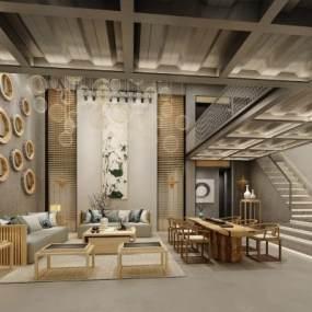 新中式餐厅3D模型【ID:832164735】